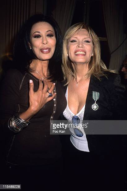 Yamina Benguigui and Amanda Lear during Amanda Lear and Enrico Navarra Receive the Chevaliers des Arts et des Lettres Medal at Ministere de La...