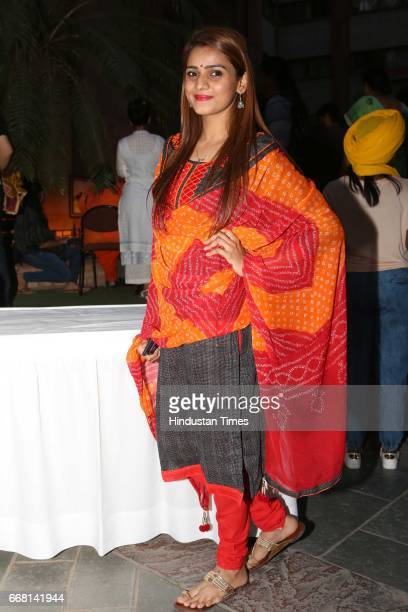 Yamini Prakash during the Mela Phulkari at India Habitat Centre on April 9 2017 in New Delhi India Mela Phulkari saw attendees groove to Bhangra...