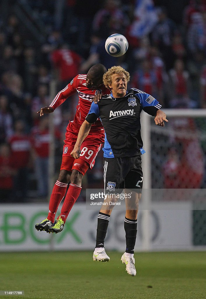 Yamith Cuesta of the Chicago Fire battles Steven Lenhart of the San Jose Earthquakes for a header during an MLS match at Toyota Park on May 28 2011...