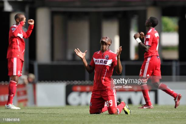 Yamith Cuesta of the Chicago Fire celebrates a goal by teammate Cristian Nazarit against the Columbus Crew on June 12 2011 at Crew Stadium in...