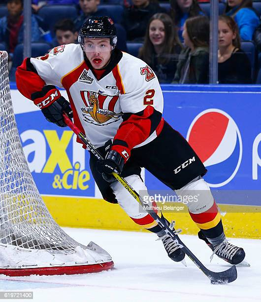 Yan Aucoin of the Baie Comeau Drakkar skates against the Quebec Remparts during their QMJHL hockey game at the Centre Videotron on October 14 2016 in...