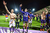 Yan Bodiger and Alexis Blin of Toulouse celebrate after the football french Ligue 1 match between Angers SCO and Toulouse FC on May 14 2016 in Angers...