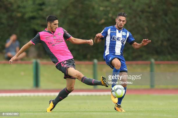 Yan Bodiger of Toulouse duels for the ball with Ruben Sobrino of Alaves during the friendly match between Toulouse FC and Deportivo Alaves on July 19...