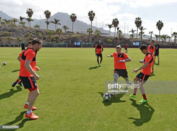 Yan Dhanda and Loris Karius of Liverpool during a training session at Tenerife Top Training on March 21 2017 in Tenerife Spain