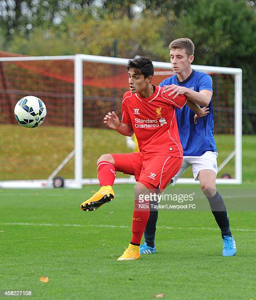 Yan Dhanda of Liverpool and Joe Williams of Everton in action during the Barclays Premier League Under 18 fixture between Liverpool and Everton at...