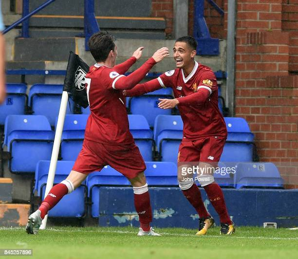 OUT Yan Dhanda of Liverpool celabrates scoring the winning goal during the game at Prenton Park on September 10 2017 in Birkenhead England