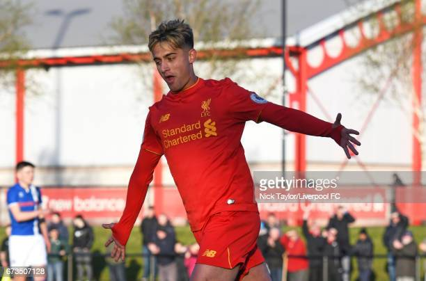 Yan Dhanda of Liverpool celebrates scoring his first goal of the game during the Liverpool v Rochdale Lancashire Senior Cup SemiFinal at The Kirkby...