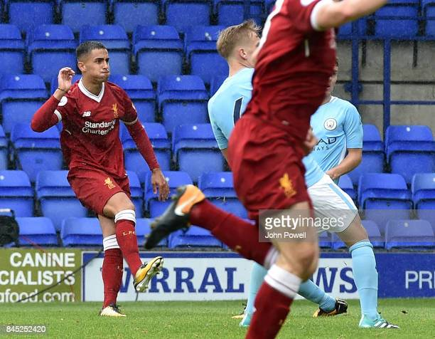 OUT Yan Dhanda of Liverpool floats the ball in for the winning goal during the game at Prenton Park on September 10 2017 in Birkenhead England