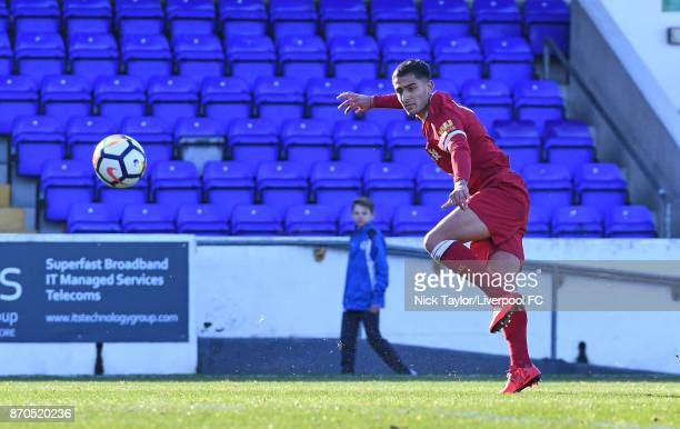 Yan Dhanda of Liverpool scores during the U23 Premier League Cup between Liverpool and Bristol City at The Swansway Chester Stadium on November 5...