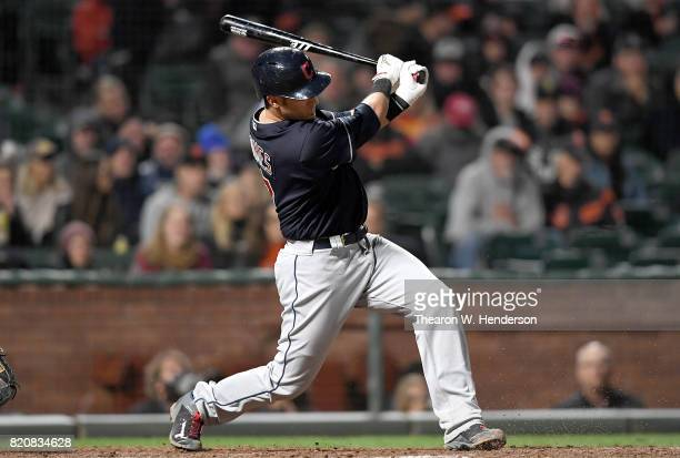 Yan Gomes of the Cleveland Indians bats against the San Francisco Giants in the top of the ninth inning at ATT Park on July 18 2017 in San Francisco...