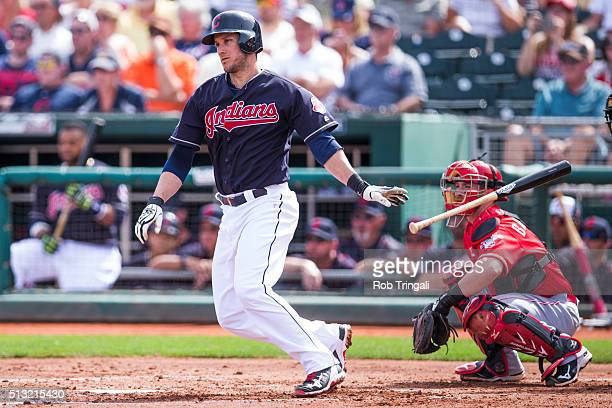 Yan Gomes of the Cleveland Indians bats during a spring training game against the Cincinnati Reds at Goodyear Ballpark on March 1 2016 in Goodyear...