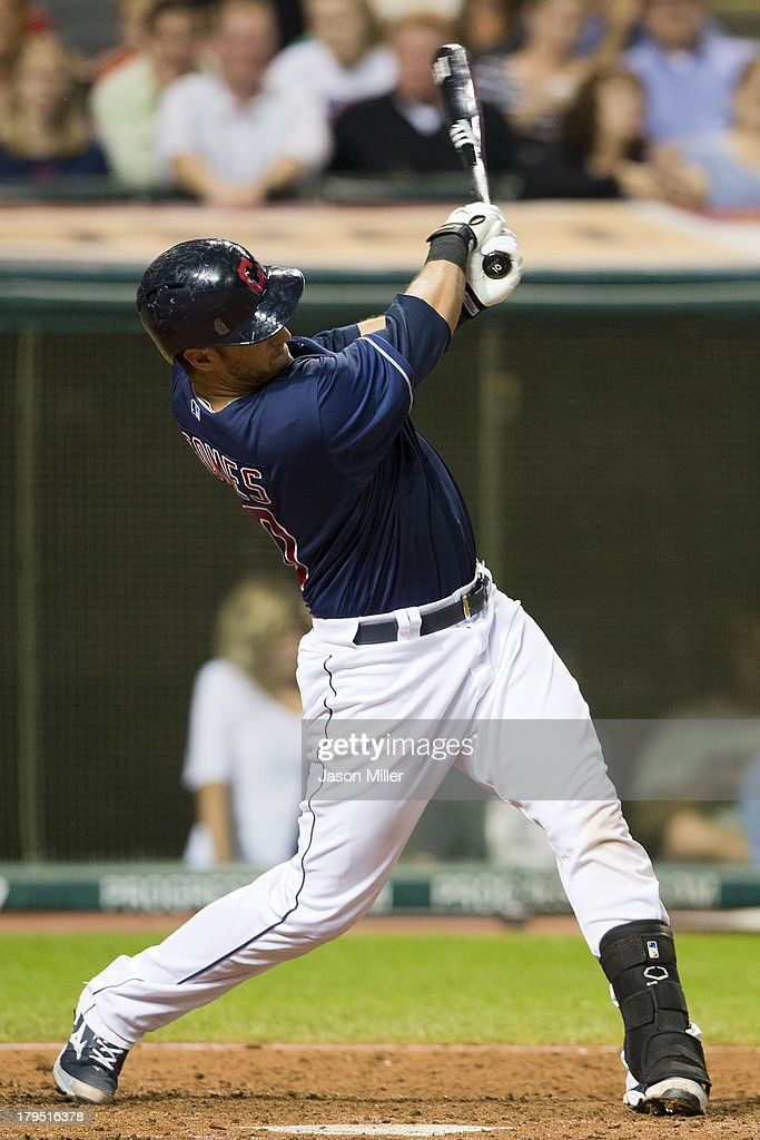 <a gi-track='captionPersonalityLinkClicked' href=/galleries/search?phrase=Yan+Gomes&family=editorial&specificpeople=9004037 ng-click='$event.stopPropagation()'>Yan Gomes</a> #10 of the Cleveland Indians hits an RBI double during the fifth inning against the Baltimore Orioles at Progressive Field on September 4, 2013 in Cleveland, Ohio.