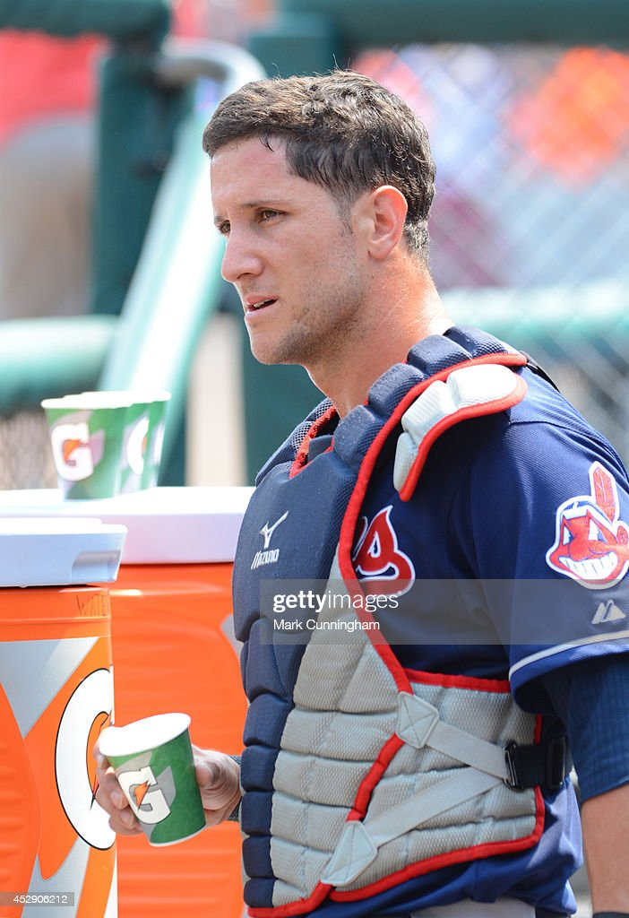 <a gi-track='captionPersonalityLinkClicked' href=/galleries/search?phrase=Yan+Gomes&family=editorial&specificpeople=9004037 ng-click='$event.stopPropagation()'>Yan Gomes</a> #10 of the Cleveland Indians looks on from the dugout during the game against the Detroit Tigers at Comerica Park on July 20, 2014 in Detroit, Michigan. The Tigers defeated the Indians 5-1.