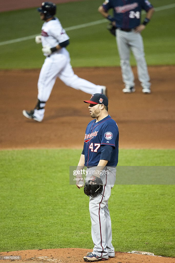 Yan Gomes #10 of the Cleveland Indians rounds the bases after hitting a solo home run off starting pitcher <a gi-track='captionPersonalityLinkClicked' href=/galleries/search?phrase=Ricky+Nolasco&family=editorial&specificpeople=600111 ng-click='$event.stopPropagation()'>Ricky Nolasco</a> #47 of the Minnesota Twins during the fifth inning at Progressive Field on May 7, 2014 in Cleveland, Ohio.
