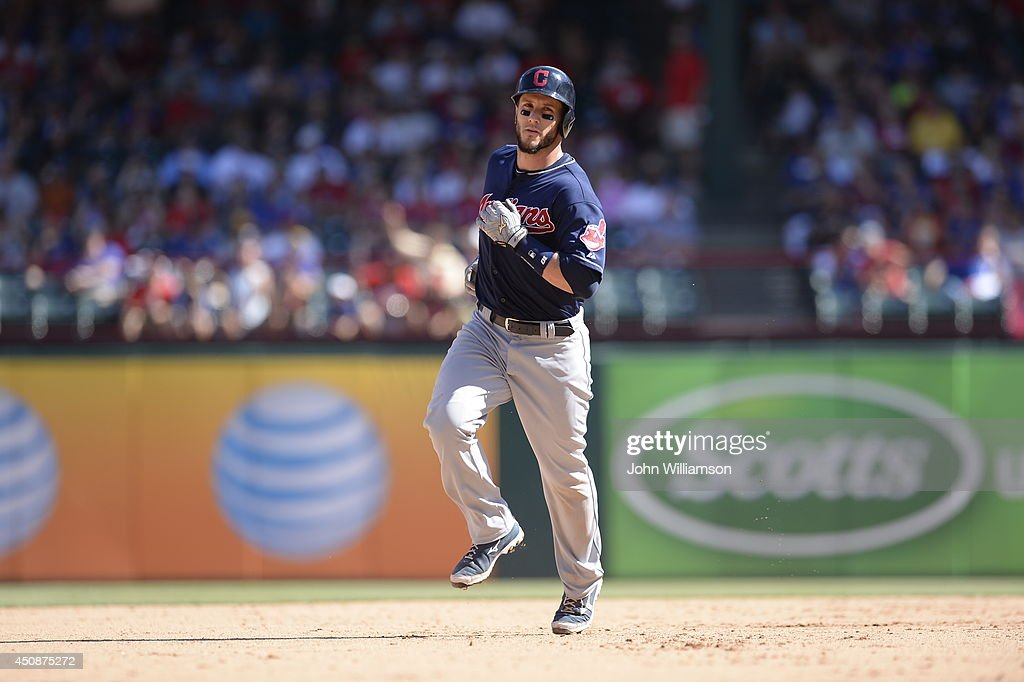 Yan Gomes #10 of the Cleveland Indians runs around the bases after hitting a home run in the game against the Texas Rangers at Globe Life Park in Arlington on June 7, 2014 in Arlington, Texas. The Cleveland Indians defeated the Texas Rangers 8-3.