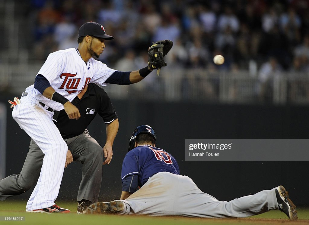 <a gi-track='captionPersonalityLinkClicked' href=/galleries/search?phrase=Yan+Gomes&family=editorial&specificpeople=9004037 ng-click='$event.stopPropagation()'>Yan Gomes</a> #10 of the Cleveland Indians slides in safely to second base as Pedro Florimon #25 of the Minnesota Twins fields the ball during the fifth inning of the game on August 13, 2013 at Target Field in Minneapolis, Minnesota. The Indians defeated the Twins 5-2.