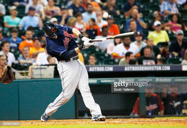 Yan Gomes of the Cleveland swings at a pitch during the eighth inning against of the Houston Astros during their game at Minute Maid Park on...