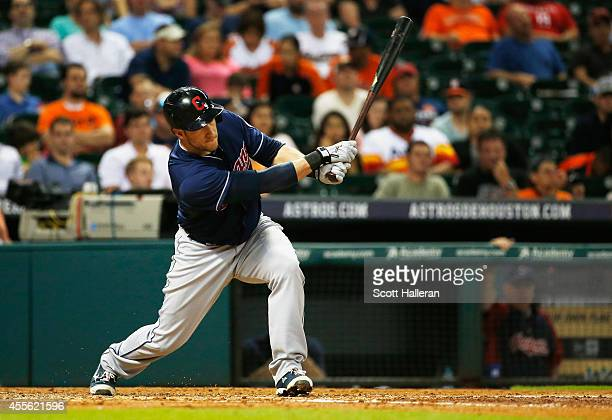 Yan Gomes#10 of the Cleveland Indians connects for a RBI single in the fourth inning against the Houston Astros during their game at Minute Maid Park...