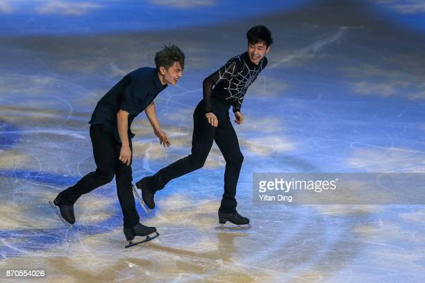 Yan Han and Jin Boyang of China perform during exhibition program of Audi Cup of China ISU Grand Prix of Figure Skating 2017 at Beijing Capital...