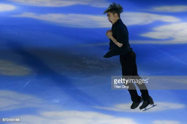 Yan Han of China performs during exhibition program of Audi Cup of China ISU Grand Prix of Figure Skating 2017 at Beijing Capital Gymnasium on...