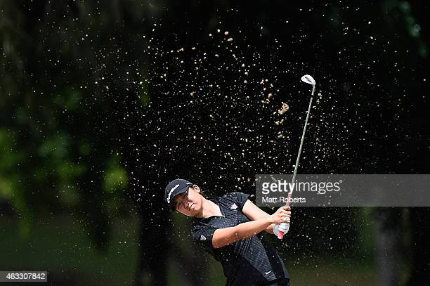 Yan Jing of China hits out of the 3rd hole bunker during day two of the 2015 Ladies Masters at Royal Pines Resort on February 13 2015 on the Gold...