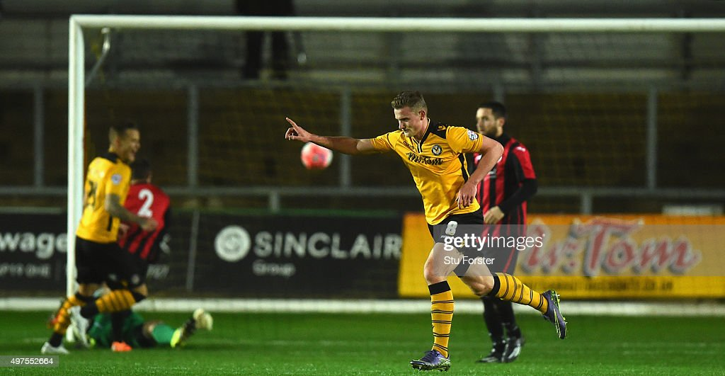 Yan Klukowski of Newport celebrates his goal from a free kick during The Emirates FA Cup First Round Replay match between Newport County and Brackley...