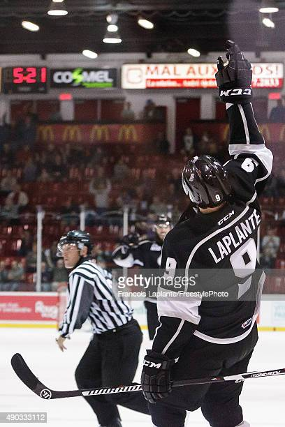 Yan Pavel Laplante of the Gatineau Olympiques celebrates his breakaway goal against the Sherbrooke Phoenix on September 27 2015 at Robert Guertin...