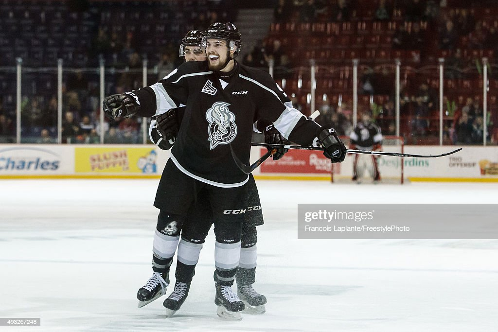 Yan Pavel Laplante #9 of the Gatineau Olympiques celebrates his second period goal against the Saint John Sea Dogs on October 18, 2015 at Robert Guertin Arena in Gatineau, Quebec, Canada.