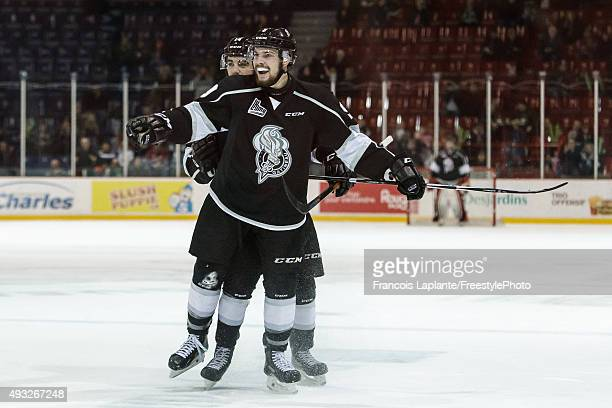 Yan Pavel Laplante of the Gatineau Olympiques celebrates his second period goal against the Saint John Sea Dogs on October 18 2015 at Robert Guertin...