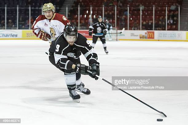 Yan Pavel Laplante of the Gatineau Olympiques controls the puck against the AcadieBathurst Titan on November 25 2015 at Robert Guertin Arena in...