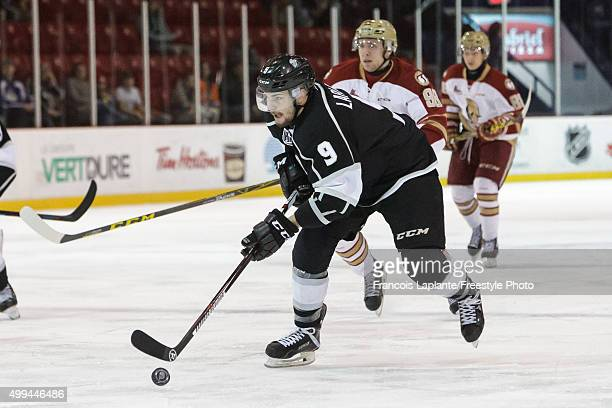 Yan Pavel Laplante of the Gatineau Olympiques skates with the puck against the AcadieBathurst Titan on November 25 2015 at Robert Guertin Arena in...