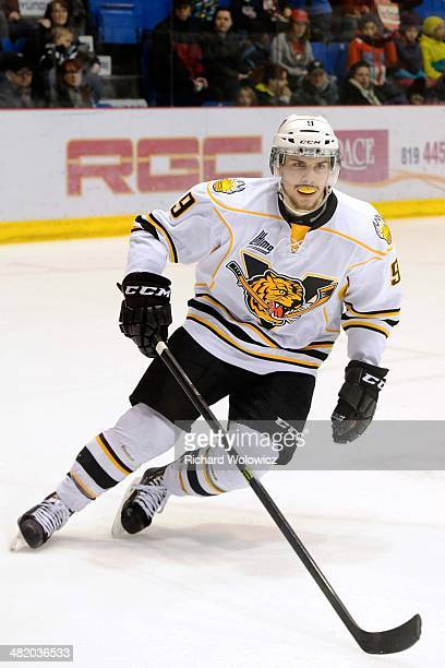 Yan Pavel Laplante of the Victoriaville Tigres skates during the QMJHL game against the Drummondville Voltigeurs at the Centre Marcel Dionne on March...
