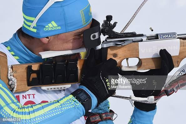 Yan Savitskiy of Kazakhstan during practice before the men's biathlon 125 km pursuit on day seven of the 2017 Sapporo Asian Winter Games at Nishioka...