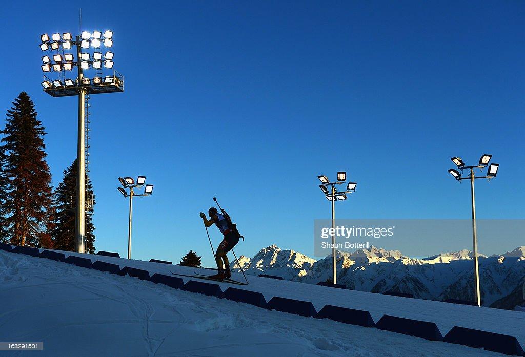 Yan Savitskiy of Khazakstan competes in the Men's 20km Individual Event during the E. ON IBU Biathlon World Cup at the 'Laura' Biathlon & Ski Complex on March 7, 2013 in Sochi, Russia.