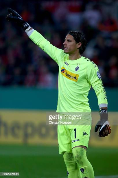 Yan Sommer of Mnchengladbach issues instructions during the DFB Cup first round match between RotWeiss Essen and Borussia Moenchengladbach at Stadion...