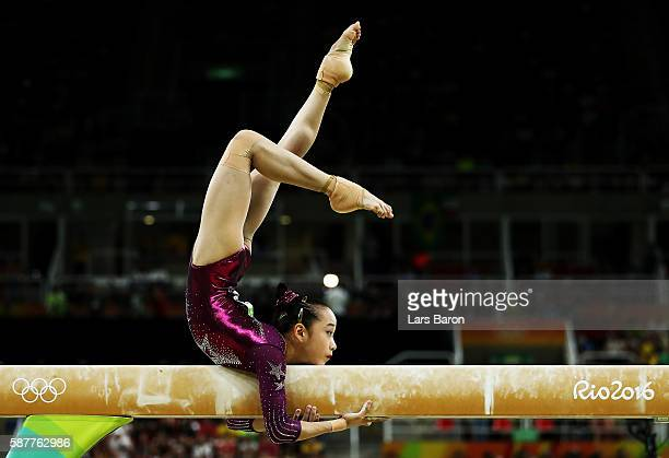 Yan Wang of China competes on the balance beam during the Artistic Gymnastics Women's Team Final on Day 4 of the Rio 2016 Olympic Games at the Rio...