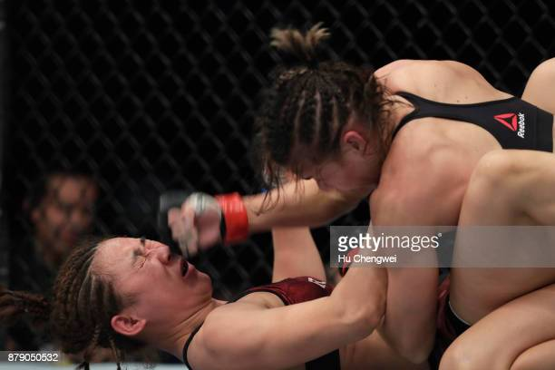 Yan Xiaonan fights with Kailin Curran during the UFC Fight Night at MercedesBenz Arena on November 25 2017 in Shanghai China