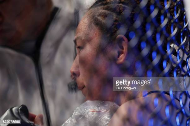 Yan Xiaonan rests during the UFC Fight Night at MercedesBenz Arena on November 25 2017 in Shanghai China