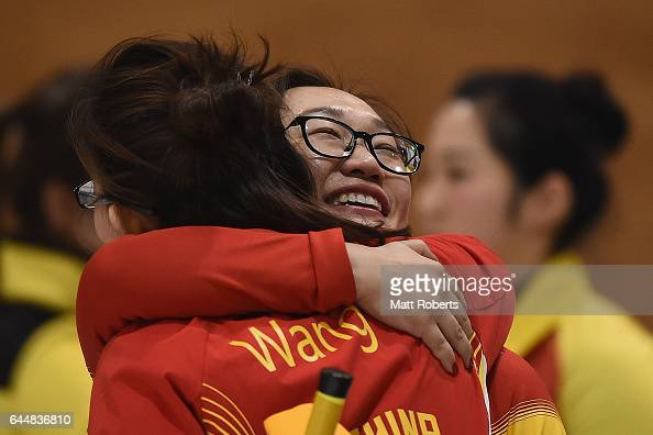 Yan Zhou of China celebrates victory during the gold medal game between China and Korea on day seven of the 2017 Sapporo Asian Winter Games at...