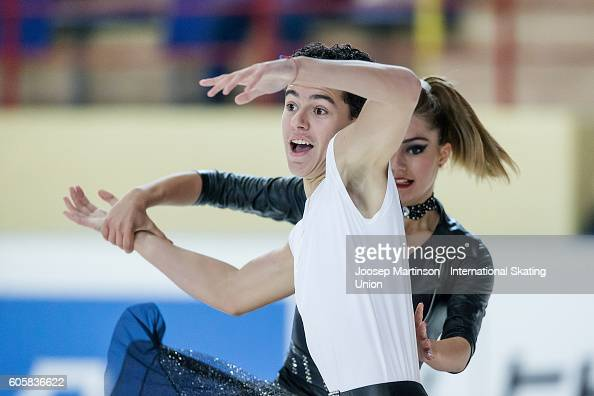 Yana Bozhilova and Kaloyan Georgiev of Bulgaria compete during the Junior Ice Dance Free Dance on day one of the ISU Junior Grand Prix of Figure...