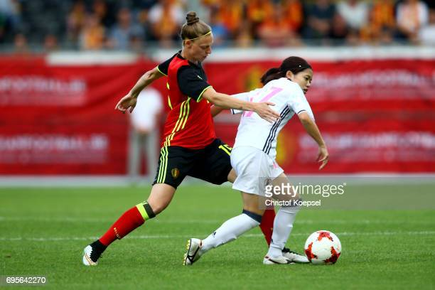 Yana Daniels of Belgium challenges Yui Hasegawa of Japan during the Women's International Friendly match between Belgium and Japan at Stadium Den...
