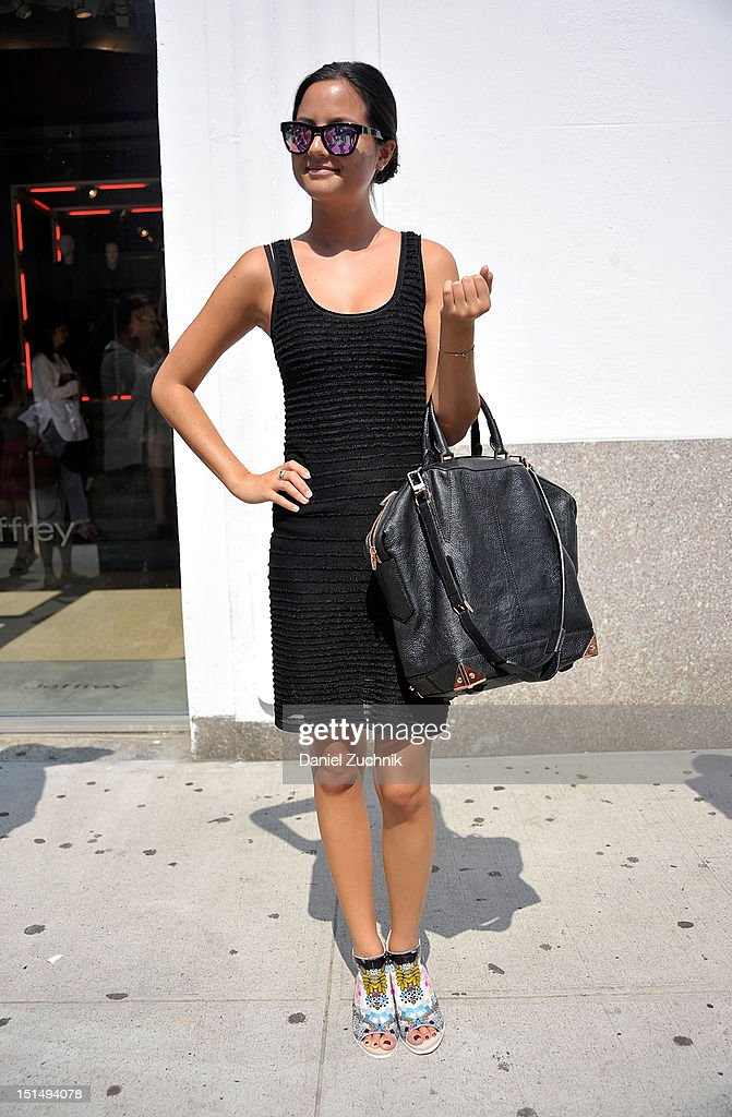 Yana Hafimer is seen outside the Yigal Azrouel show wearing a Yigal Azrouel dress, Alexander Wang bag and Preen by Aldo shoes on September 7, 2012 in New York City.