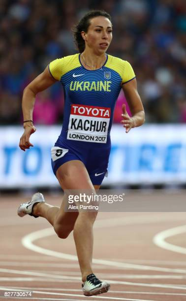 Yana Kachur of Ukraine competes in the Women's 200 metres heats during day five of the 16th IAAF World Athletics Championships London 2017 at The...