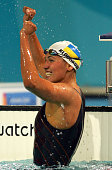 Yana Klochkova of Ukraine celebrates as she won gold in the women's swimming 200 metre individual medley final on August 17 2004 during the Athens...