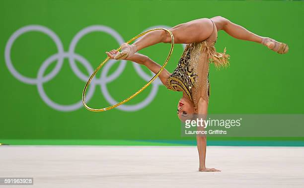 Yana Kudryavtseva of Russia performs during the Rhythmic Gymnastics Individual AllAround on August 20 2016 at Rio Olympic Arena in Rio de Janeiro...