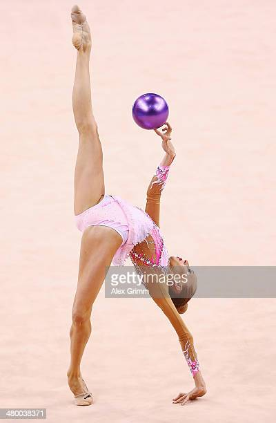 Yana Kudryavtseva of Russia performs with the ball during the individual competition of the GAZPROM World Cup Rhythmic Gymnastics at Porsche Arena on...