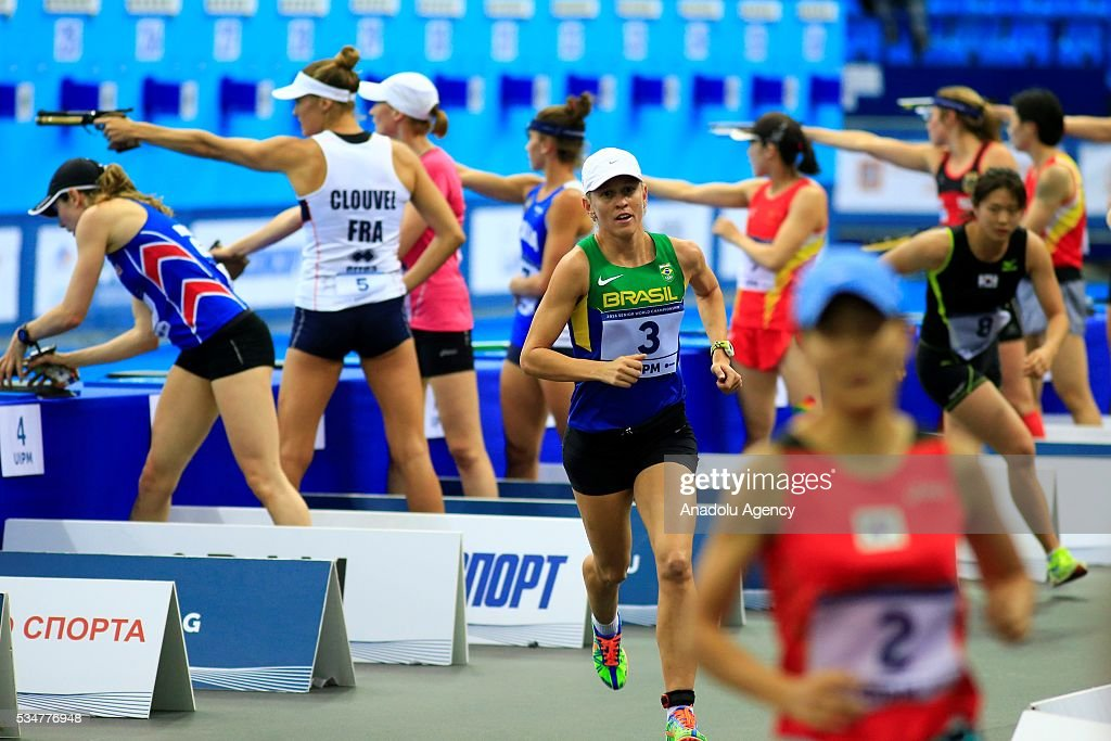 Yana Marques (3) of Brazil competes during the women's final at the UIPM senior modern pentathlon world championships in Moscow, Russia, on May 27, 2016.