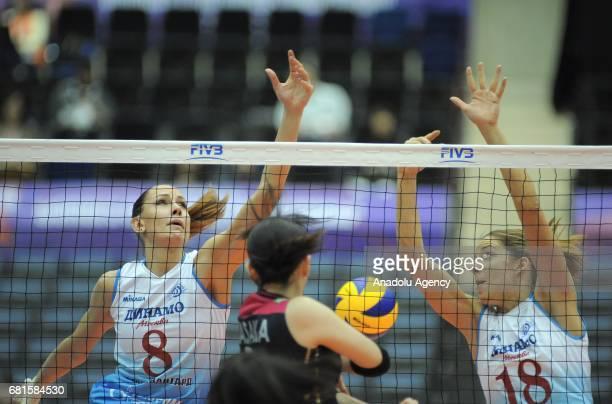 Yana Shcherban and Maja Poljak of Dinamo Moscow in action against Nana Iwasaka of Hisamitsu Spring during the pool match of the FIVB Womens Club...