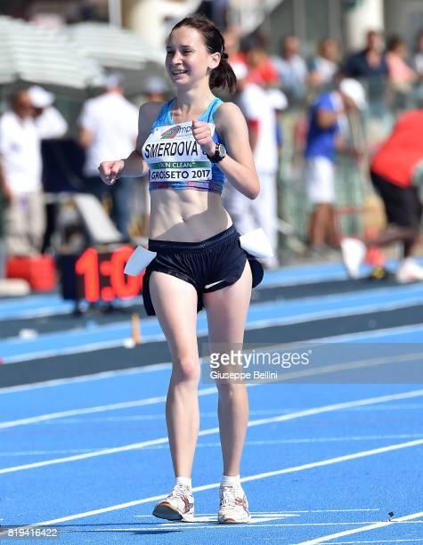 Yana Smerdova Authorized Natural Athlete wins 10000 m Race Walk Women during European Athletics U20 Championships on July 20 2017 in Grosseto Italy