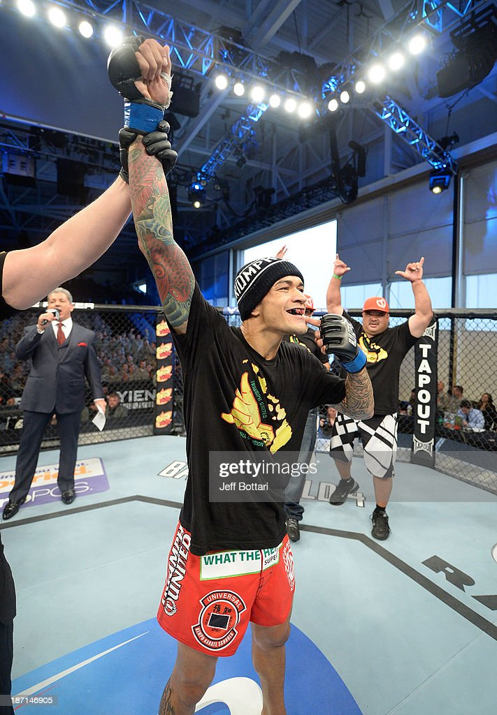 Yancy Medeiros is declared the winner against Yves Edwards after their UFC lightweight bout on November 6, 2013 in Fort Campbell, Kentucky.